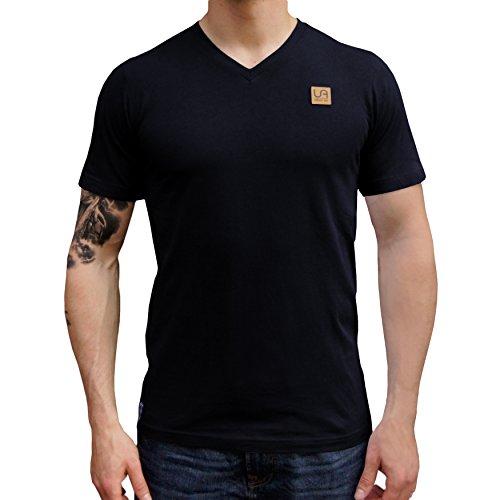 urban air StyleFit | T-Shirt | Herren | für Sport und Freizeit | 100% Baumwolle, Leder-Patch, V-Ausschnitt, ohne Aufdruck, Kurzarm | Schwarz | S | Leicht - V-schnitt Shirt Schwarz