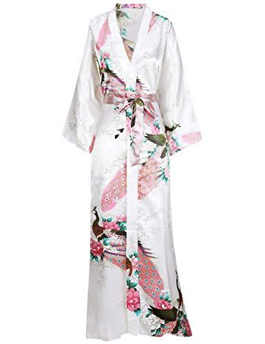 BABEYOND Kimono de Seda Vestido de Satén Kimono Pavo Real Novia Pijamas de Seda Bata de Satén Blanco...