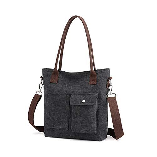 Gindoly Damen Handtasche Schultertasche Canvas Damen Umhägetasche Vintage Shopper Tasche für Alltag Büro Schule Reise EINWEG(Schwarz) (Pocket Bag Hobo 2)