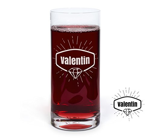PrintPlanet® Graviertes Glas - Leonardo® Trinkglas mit Gravur (mit Name oder Text personalisiert) - Design Diamant