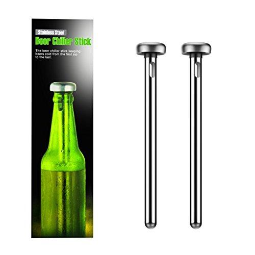 Bierkühler Kühlschrank (Bierkühler aus Edelstahl 2 Stück | Wiederverwendbare Getränke Kühler | FDA Zertifikat | Bierflaschen Chiller Stick Geschenk für Männer | Ice Cold Chilled Beer Flaschen Getränk)