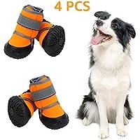 Zeraty Zapatos para Perros Botas para Mascotas Zapatillas para Perros medianos más Grandes con Correas Reflectante Ajustable Suela Antideslizante Resistente Naranja 4PCS