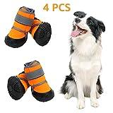 Zeraty Hundeschuhe Pfotenschutz, Anti-rutsch Sole passend für mittlere und große Hunde, Orange / 4 Stück