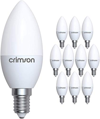 LM® E14 LED Candle Bulbs 5W SES Small Edison Screw C37 Day White 480 lm 6400K Replaces 40-60 W Incandescent Light Bulbs Pack of 10
