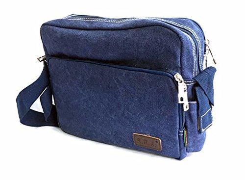 Freedom-vp Vintage Canvas Herren Schultertasche großer Umhängetasche Messenger Bag Designer Reisetasche Taschen für Arbeit Schule Uni Weekender Praktisch Strandtasche Sporttasche Tasche (Grün) Blau