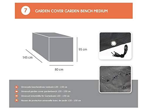 MaximaVida Schwarze Schutzhülle für Gartenbank 120 cm bis 150 cm - 600 Gramm schwere Ausführung