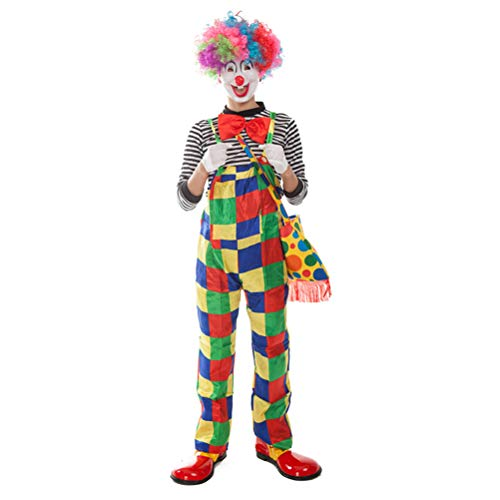 r Clown Kostüm Carnival Joker Clown Jumpsuit mit T-Shirt Mütze Bowtie und Handschuh-Set ()