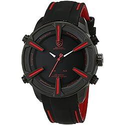 Shark Herren LED Armbanduhr Schwarz Zifferblatt Silikon Armband Wecker Datumanzeige SH384