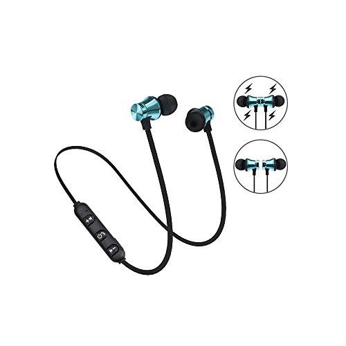 Auriculares Magnéticos Bluetooth para Deportivos, Bluetooth 4.2 Cascos inálambrico para Correr,Inalámbrico de 10M con Micrófono,Cancelación de Ruido para Gimnasio (Azul)