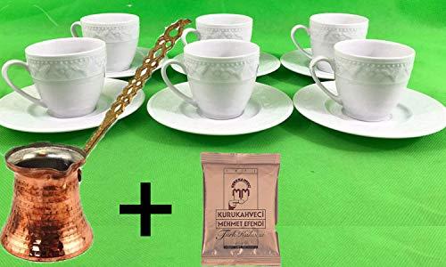 Kutahya Porzellan Türkisch/Griechisch oder Arabisch Kaffeetassen und Untertasse, 6Stück, weiß