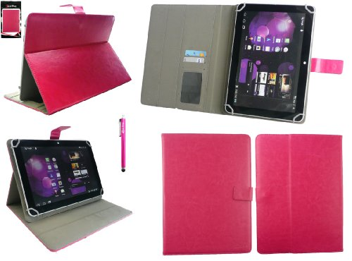 Emartbuy® Denver TAQ-10153 10.1 Zoll Tablet Universalbereich Hot Rosa Multi Winkel Folio Executive Case Cover Wallet Hülle Schutzhülle mit Kartensteckplätze + Hot Rosa Eingabestift