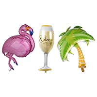 FLAMEER Hawaiian Tropical Coconut Tree Foil Balloons, Large Aluminum Mylar Party Flamingo + Cups Balloons for Summer Beach Party Balloon Suppliers