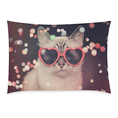 YISUMEI Kissenbezug Kissenhülle 40x80 cm Home Decor Dekokissen Fall Sofa Werfen Kissenbezüge Pillowcases Hipster Sonnenbrille Polka Dot Katze Sparkles (Sparkle Hipster)