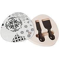 Brandani 53192 Alhambra - Tabla de cortar (cristal/madera, 2 cuchillos de queso