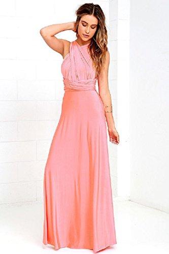Robe Longue Femme Elégante Sans Manche Dos Nu Robe de Soirée Robe de Cocktail pink