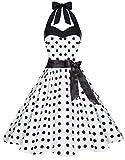 Zarlena Damen 50er Retro Rockabilly Pola Dots Petticoat Neckholder Kleid Weiss mit Schwarzen Dots Small 626