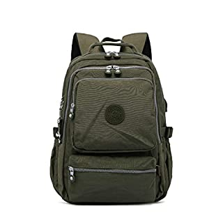 QWKZH Backpacks Backpack Student College Waterproof Nylon Backpack Men Women Material Escolar Mochila Quality Laptop Bag School,Model 1808 ArmyGreen-30CMX14CMX42CM 1808-anbe