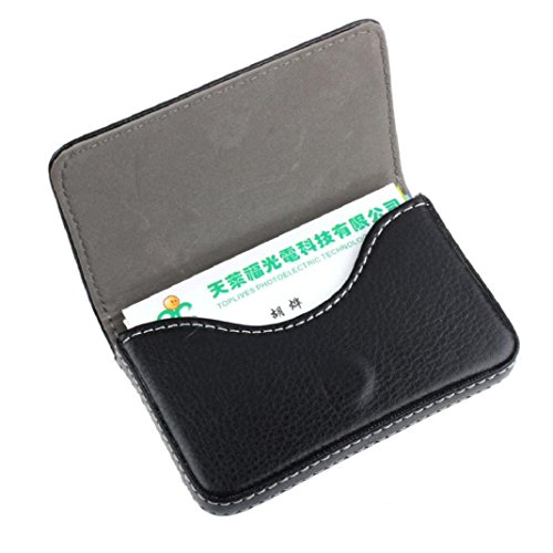 Credit Card Holder Kolylong PU Leder Magnetic Geschäfts card Case Kasten Halter (Schwarz) (Case Card Clip Id-money)