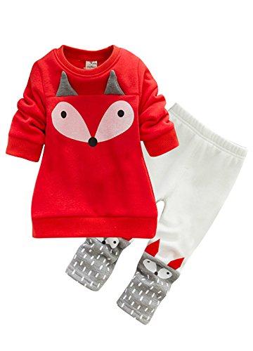 OUO Baby Kleinkind Sweatshirt Outfits Baby Junge Mädchen Fuchs Drucken Lange Ärmel Plus Kaschmir Lange Hülse Top + Hosen Set starke Samt Rot 80CM (Baby Mädchen Sweatshirts)