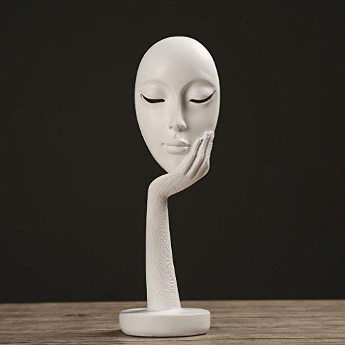 Estatuas Moderna Escultura de Resina Minimalista Máscara de la Cara Abstracta decoración del hogar Sala de Estar Interior Dormitorio Oficina artesanía decoración UOMUN