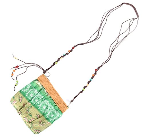 te (Grün) - Tasche - Handtasche - Schultertasche - Stoff - Schmetterlinge - Strass - kleines Mädchen und Mädchen - Reißverschluss - Vintage Retro - Geschenkidee ()