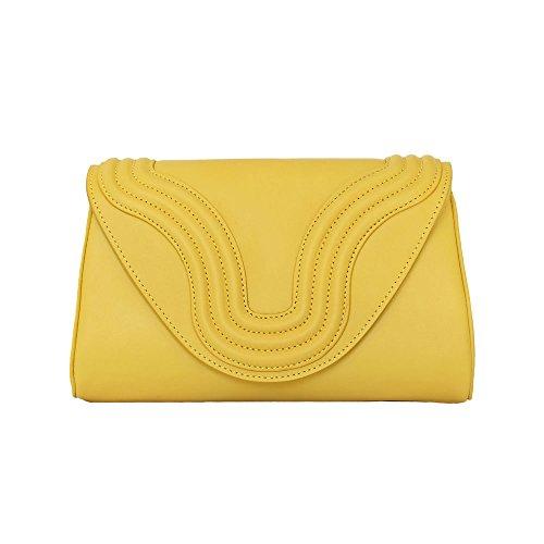 """BORGENNI borsa da donna tipo pochette a tracolla pochette piccola in vera pelle con tracolla, """"La Sei"""" Giallo"""