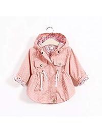 a449b5cd5 Bebé Niñas Floral impresión prendas cortaviento chaquetas Bebé Manga Larga  con Capucha de Abrigo Amarillo