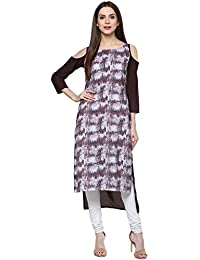 Ziyaa Women's Maroon Color Printed High Low Crepe Kurta (ZIKUCR1617)
