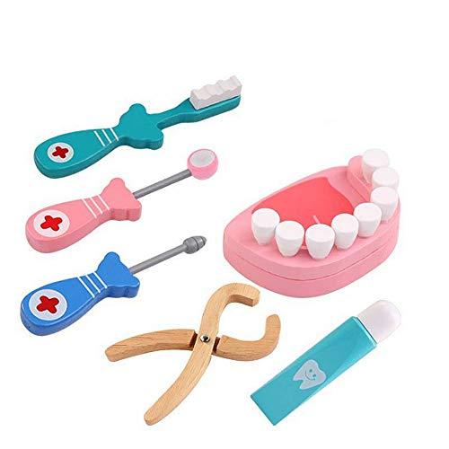 Jxth Kleinkind vorgeben Spielset 6 Stücke Arzt Spielzeug Medical Kit Zahnarzt Pretend Play Holz Dental Werkzeuge Simulation Medizin Spielzeug Box für Geburtstagsfeier Geschenk Spielzeug