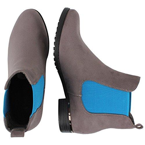 Japado , bottes chelsea femme Gris - Grau Blau