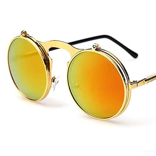Steampunk Sonnenbrille Flip Up Double Lens Retro Runde Designer Spiegel Objektiv Vintage rustikale Rivet viktorianischen Punk-Stil Cyber   UV400 Classic Goggles Eyewear (Goldrahmen Mit Orange Linse)