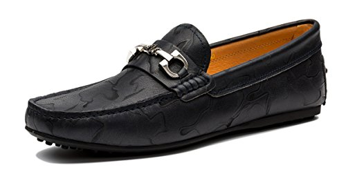 OPP Scarpe da Uomo Flats Vera Pelle Loafer Scarpe Blu