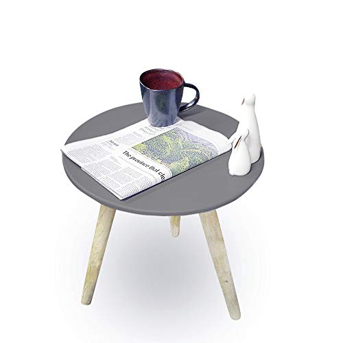 Zorro Small Round Coffee Table White Stand Tea Table For Living Office And Room Home 40cmx40cmx40cm (GREY)