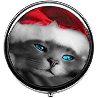 LinJxLee Christmas hat cat Round Pill Case Pill Box Tablet Vitamin Organizer Easy to Carry preisvergleich bei billige-tabletten.eu