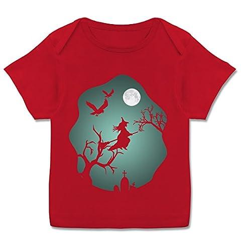 Anlässe Baby - Hexe Mond Grusel Grün - 56-62 (2-3 Monate) - Rot - E110B - Kurzarm Baby-Shirt für Jungen und Mädchen in verschiedenen (Gut Gegen Böse Kostüme)
