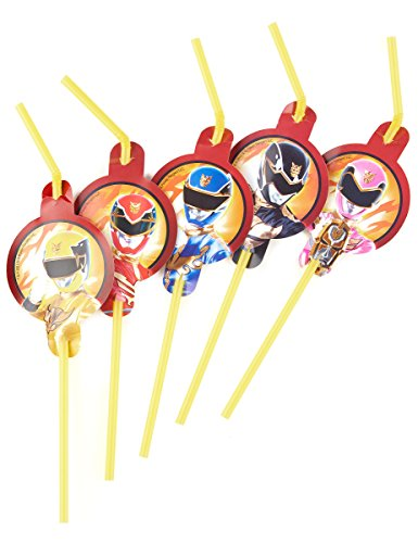 Amscan 24 cm Power Rangers 8-drinking Trinkhalme (Dress Up Power Rangers)