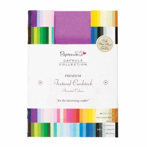 Papermania A6 75-Piece Capsule Collection Premium Textured Cardstock, Multi-Colour