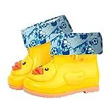 TAOtTAO Infant Kinder Kinder Baby Cartoon Ente Gummi Wasserdichte Warme Stiefel Regen Schuhe (25, Gelb)