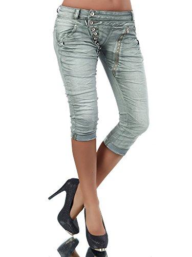 N123 Damen 3/4 Capri Jeans Hose Shorts Damenjeans Hüftjeans Caprijeans Boyfriend, Farben:Khaki;Größen:36 (S)