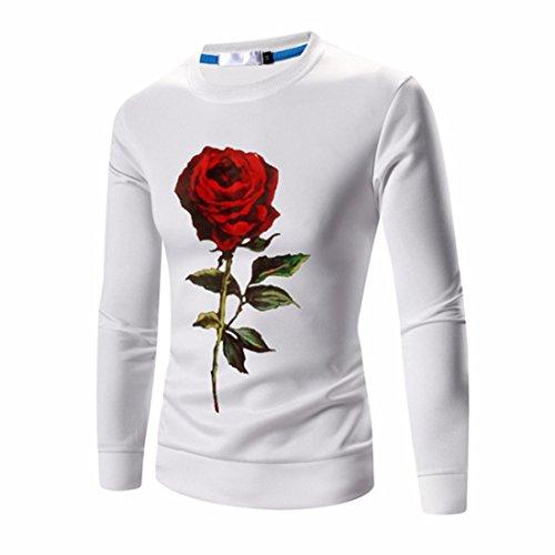 Men's Designer Slim Fit Print Pullover Sweatshirts White Red