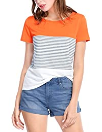 Allegra K Women's Color Block Round Neck Short Sleeves Striped Tee