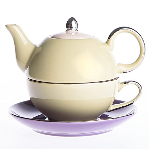 Artvigor, Tea for One Set, Porzellan Kaffee Tee Kanne mit Tasse und Untertasse, 3-teilig...