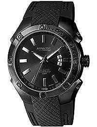 Q&Q Hombres DB24J522Y análogo de cuarzo de silicona banda Negro Fecha reloj