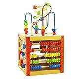 LHYP Wooden Cube Aktivitätszentrum Baby 5-in-1 Multifunction Bead Maze Cube Learning, Bestes Geburtstagsgeschenk-Spielzeug Für Das Alter Über 2 + Kinder-Kleinkinder Kleine Mädchen