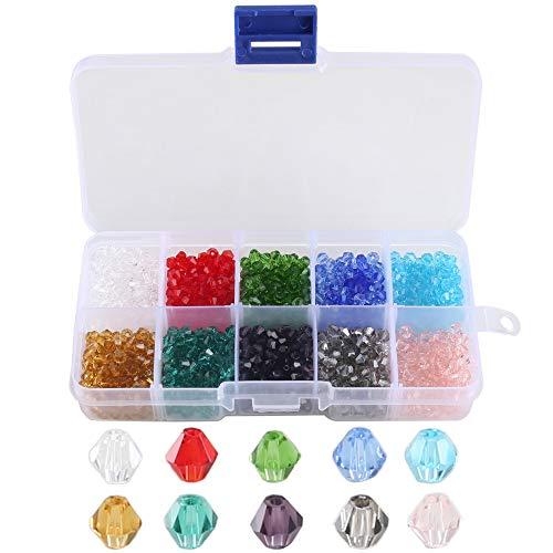FOGAWA Perlen Glas 1000 Stück Glasperlen 4mm Facettierte Kristall Glas Perlen 10 Farben Perlen Zum Auffädeln Deko Diamanten Kristall für DIY Schmuck Halskette Armband Basteln