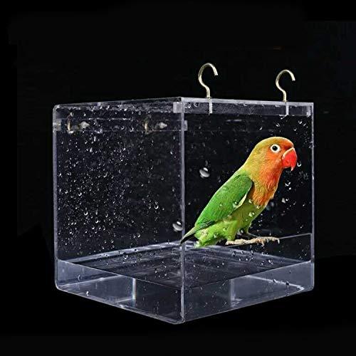 Mishiner Hängendes Vogelbad mit Haken, Würfel Vogelbadewanne Badekasten Schüssel Käfig Zubehör für kleine Bräute Kanarische Wellensittiche Papagei