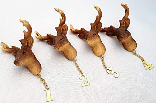 Florissima 4 St Pinset Hirsch Braun Hirschkopf mit Pin und Zahlen für Kerzen Adentskranz Weihnachten Dekoration Advent