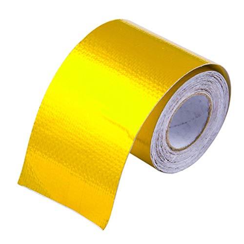 Preisvergleich Produktbild Semoic Reflektieren eine Gold-Thermo-Tape Lufteinlass Waermedaemmung Schild Wickeln Reflektierende Hitzebarriere Selbstklebender Motor