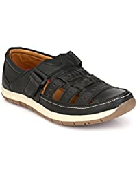 Real Blue Men's Black Casual Artificial Leather Slip-On Sandals Shoes (Casual Shoe| Loafer Shoes For Men's | Casual...