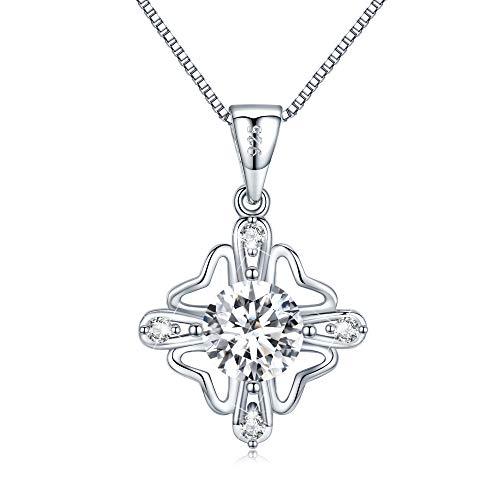 LEVIOLET Schmuck Damen Kette Silber 925 Halskette mit Blume Anhänger Geschenk für Frauen